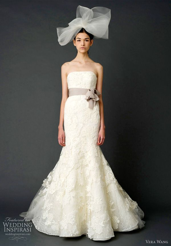 vera wang spring 2012 bridal - Strapless mermaid gown with floating ...
