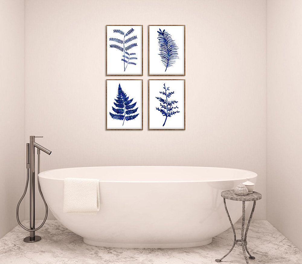 Ferns print floral decor set of blue ferns kitchen wall art