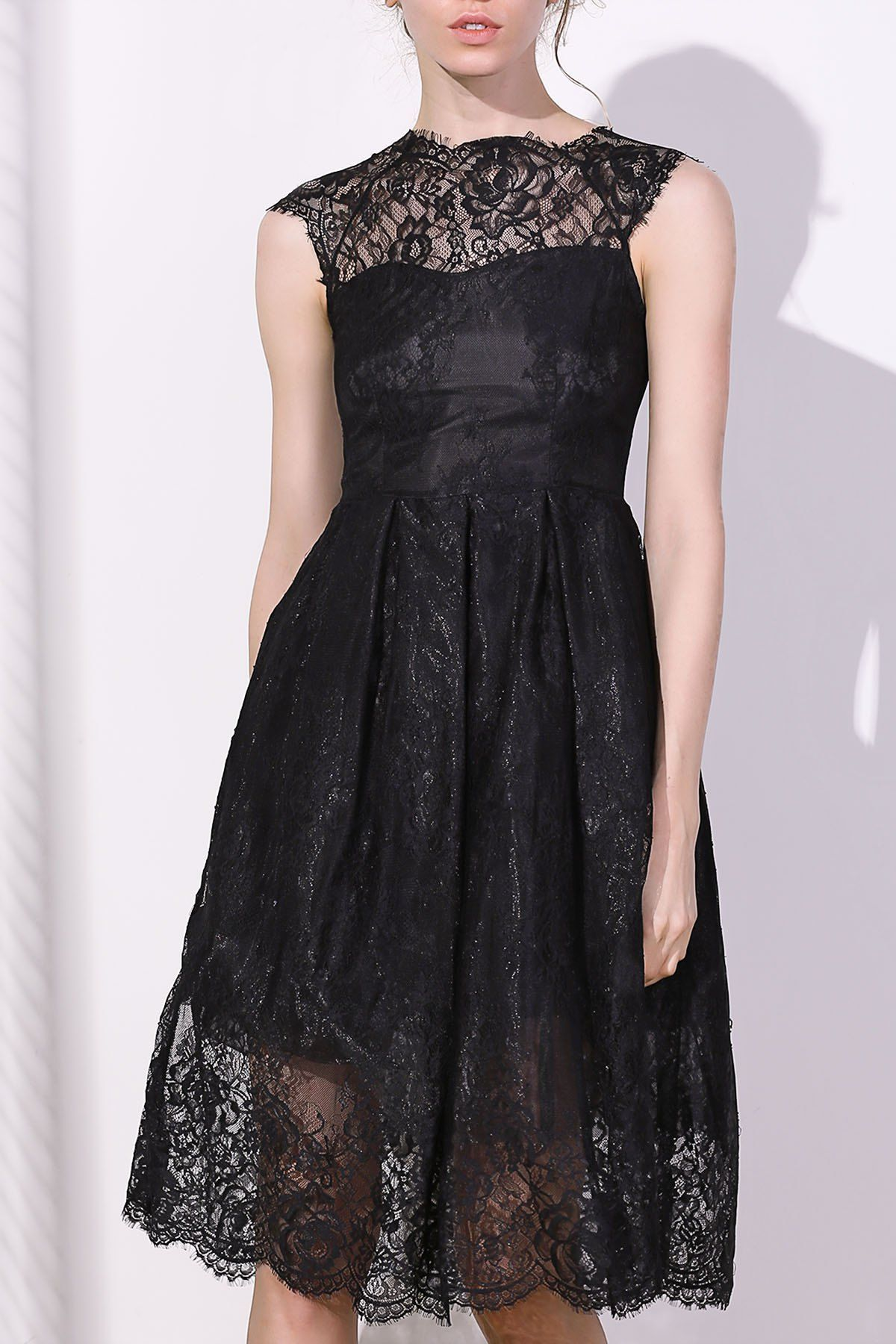 Vintage lace short a line prom dress round collar black laces and cap