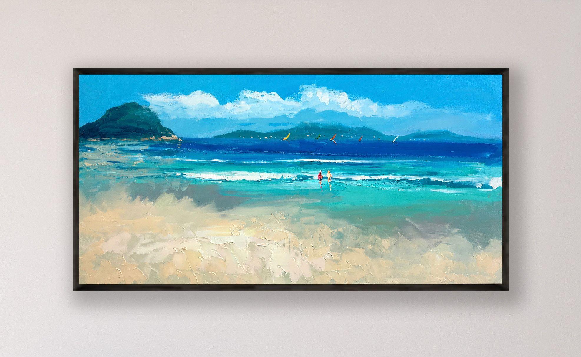 Tropical Beach Painting On Canvas Original Art Seascape Painting