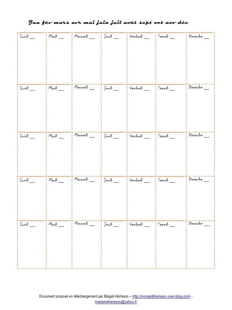 Calendrier mensuel perp tuel pour son agenda ou carnet de grossesse printa - Creer son calendrier ...
