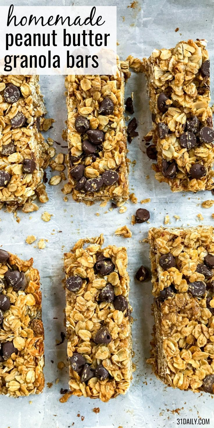 Healthy Peanut Butter Granola Bars with Chocolate