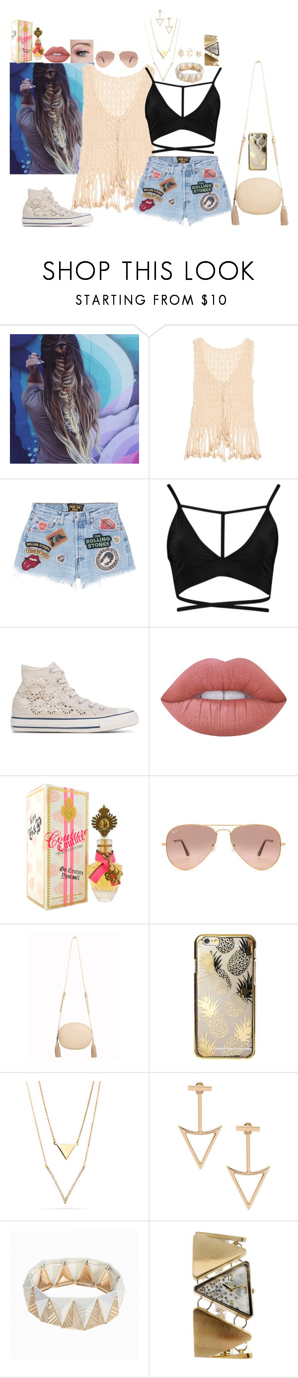 """Untitled #1110"" by babybren-fany ❤ liked on Polyvore featuring Anna Kosturova, MadeWorn, Converse, Lime Crime, Juicy Couture, Ray-Ban, MANGO, Skinnydip, N:U - Not the Usual and Charlotte Russe"