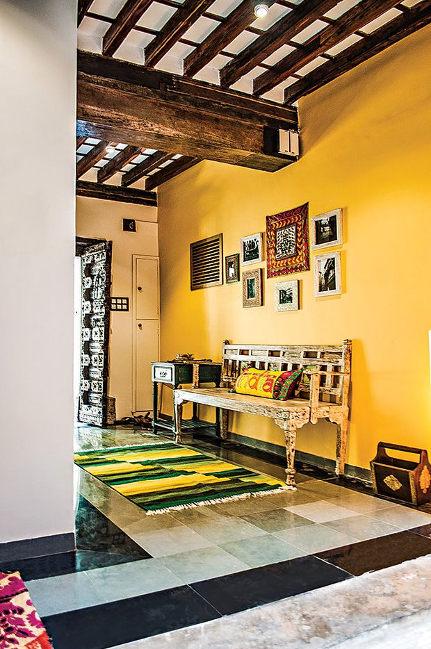The Yellow Of The Wall In Combination With The Polished Kota Stone