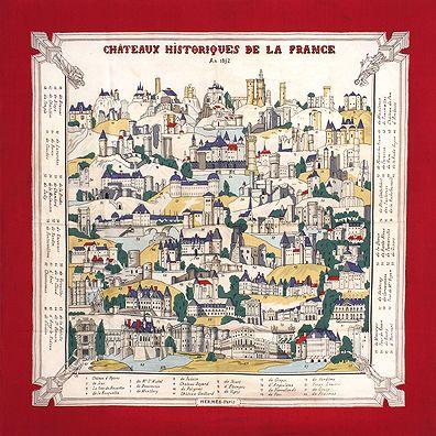 luxury-scarves.com  Chateaux Historiques de la France , Hugo Grygkar. 1949 c223105e189