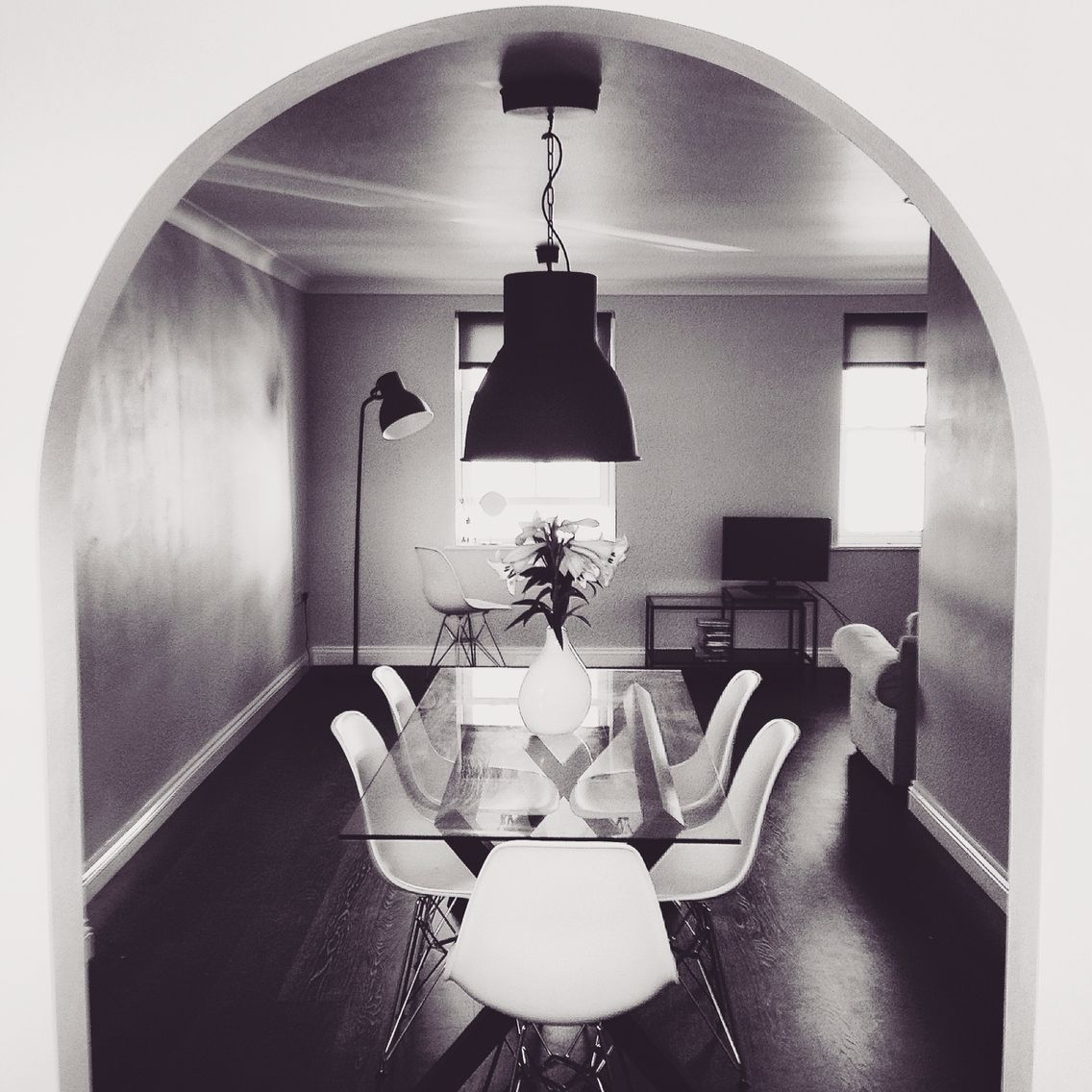 Dining room: Habitat glass table/ikea pendant lighting/vue ...