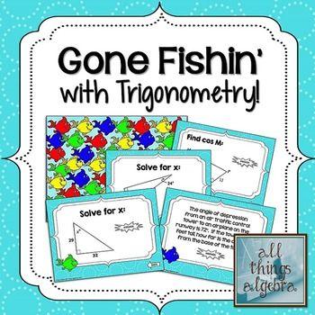 Right Triangle Trigonometry Gone Fishin\' Game | Trigonometry, Math ...