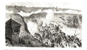 Austrian counterattack on Chlum from Rozběřice. Battle of Koniggratz 1866