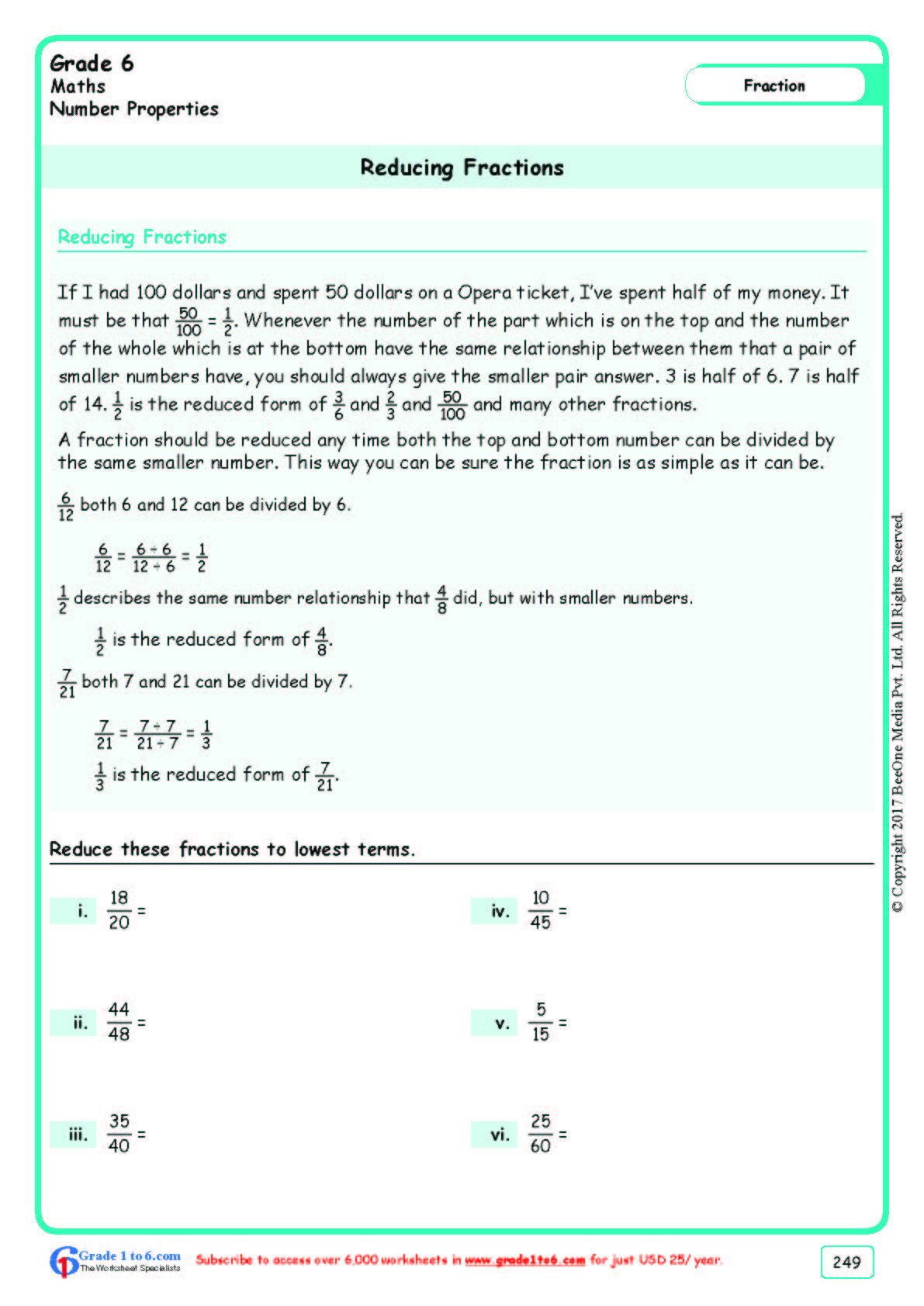 Worksheet Grade 6 Math Reducing Fractions In