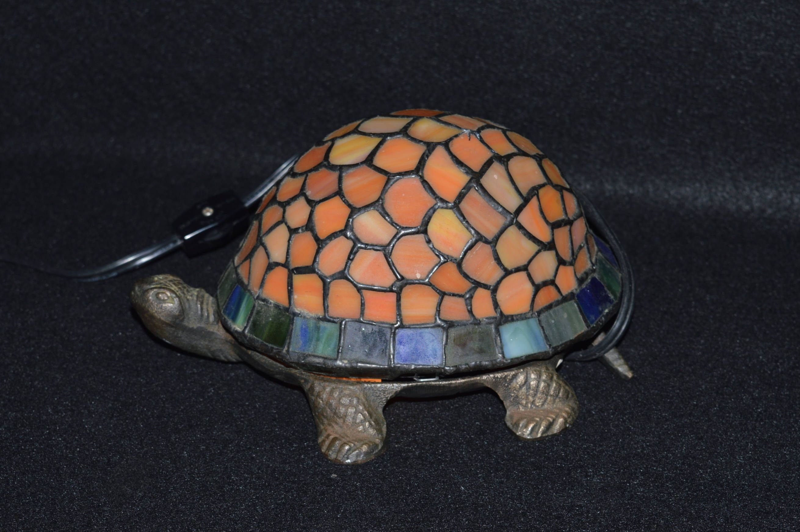Stained Gl Turtle Lamp Cast Iron Night Light W Shade Tiffany Style Table Tortoise By