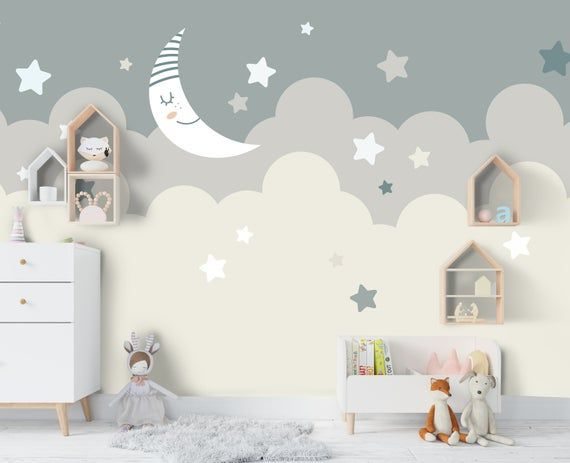 3D Kids, Cartoon, Moonlight, Cloud Wallpaper-Nursery Wallpaper Removable Wallpaper-Peel and stick Wall Mural,Playroom Wallpaper Wall decor