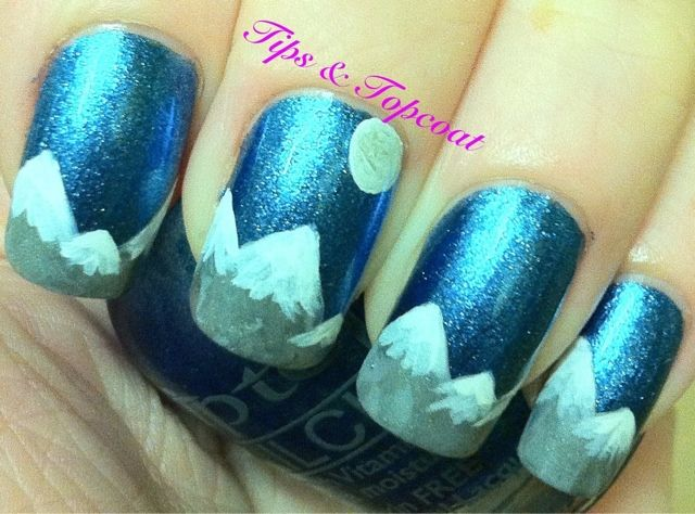 Snowy Mountain Nail Art La La La Pinterest Moon Natural Color