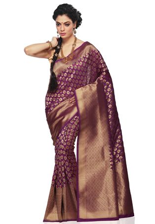 6872b4dd8f Dark Violet Pure Handloom Banarasi Silk Saree with Blouse Online Shopping:  SAT258