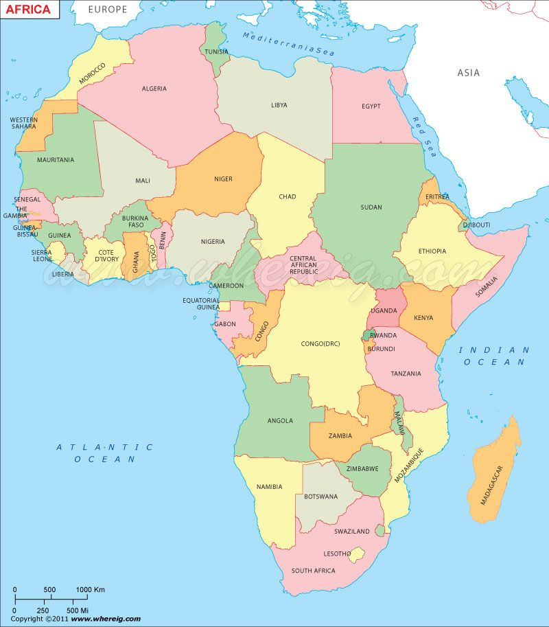 africa map only countries