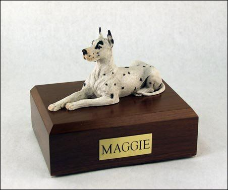 Genuine North American Hardwood Great Dane Laying Figurine Urn