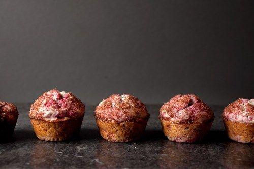 raspberry + poppyseed muffins
