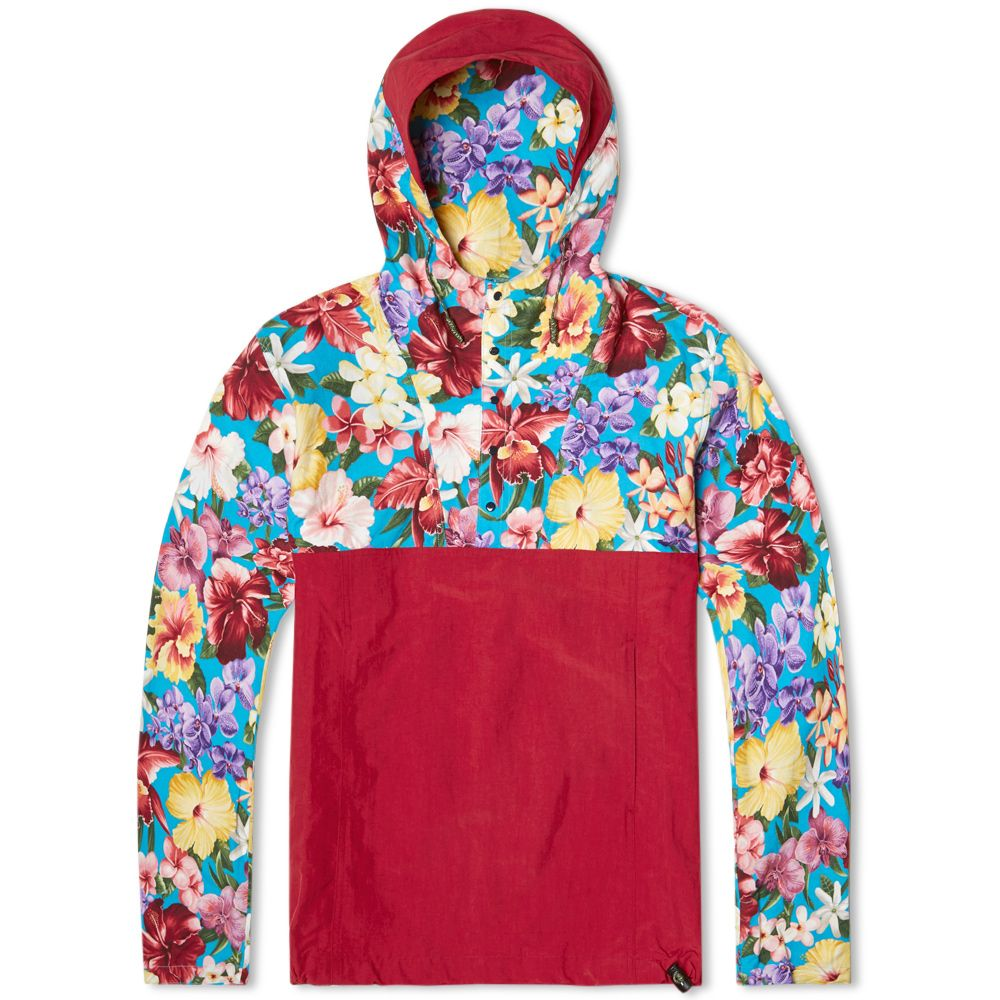 Monitaly floral pat pullover jacket us floral turquoise u red