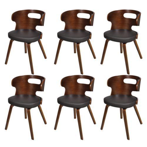 6 X Lederstühle Sessel Esszimmerstühle Sperrholz Leder Stuhl Stühle Braun  #S; EEK A+