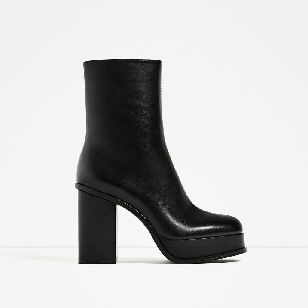 Image 2 of LEATHER ANKLE BOOTS WITH LINED PLATFORM from Zara   Pep ... 7416ec6661ba
