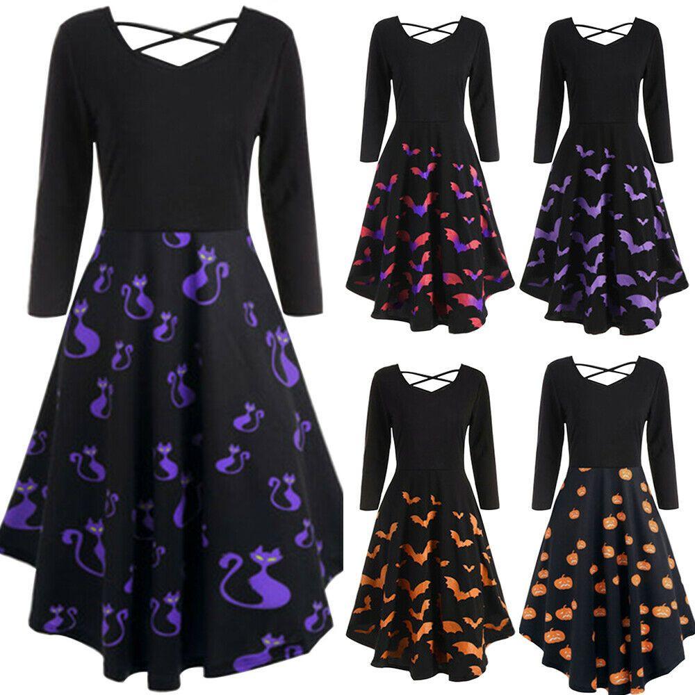 Details zu Frauen Langarm Kleid Sommer Festliche Damenkleider