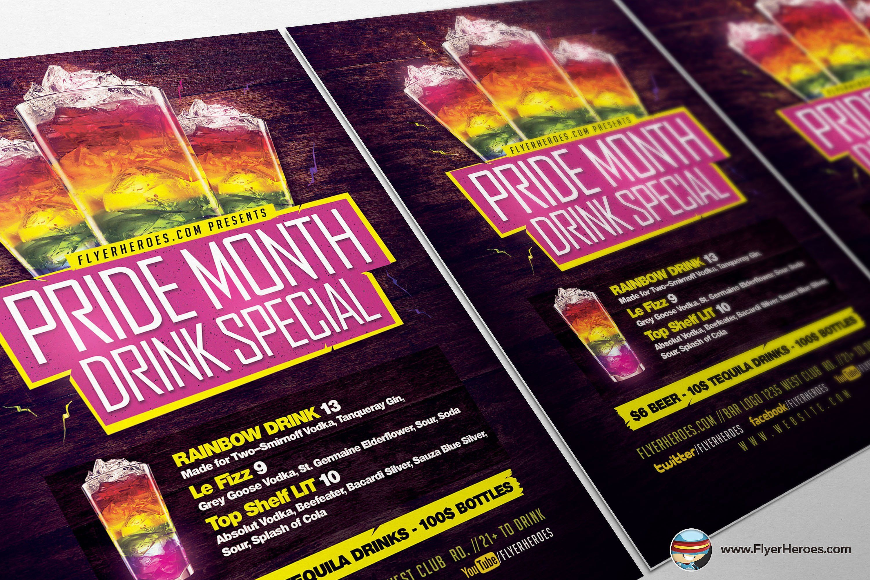 Pride Drink Special Flyer Template General Bold Drink
