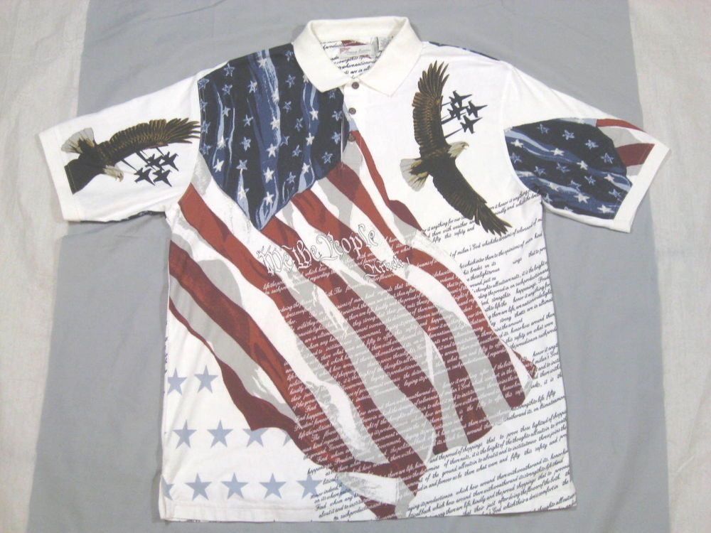 03385274 American Summer Clothing Co Flag USA Constitution Eagle Polo Shirt Size XL  #AmericanSummerclothingCompany #PoloRugby