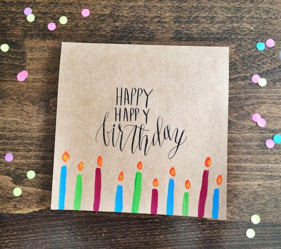 Square handmade calligraphy happy birthday by