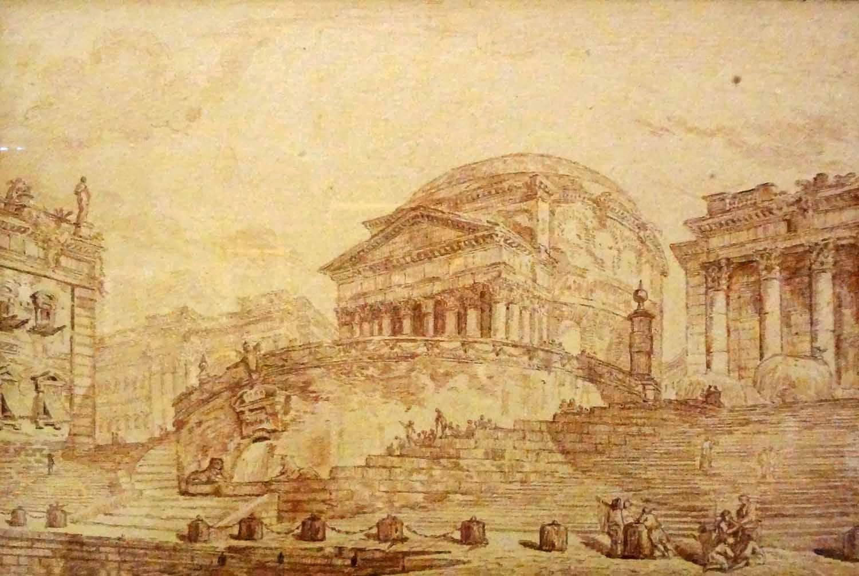 Jean-Robert Ango - Capriccio architettonico con il Porto di Ripetta e il Pantheon