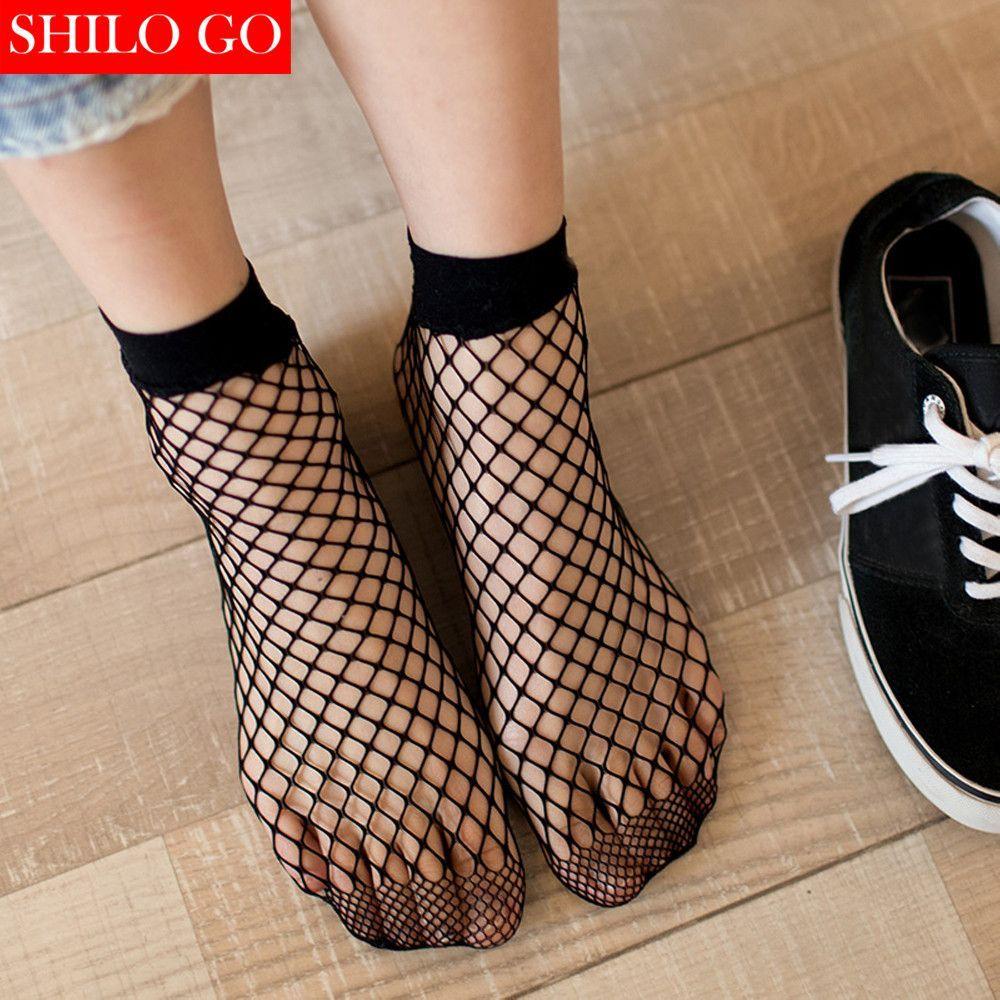 Womens Fish Net Socks - Trendy Girls Breathable Fishnet Ankle Socks Transparent Mesh Socks