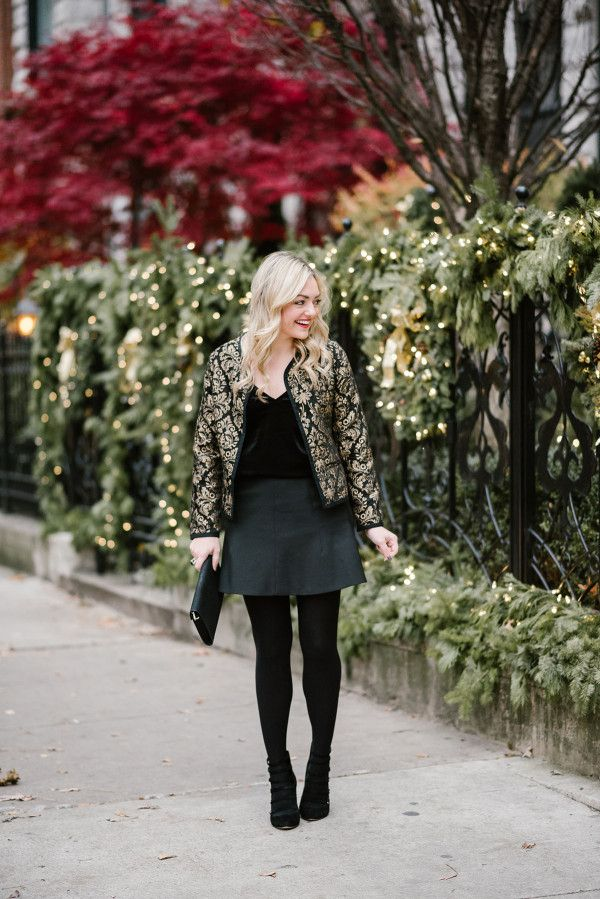 Two Ways to Style a Black & Gold Jacket — bows & sequins. Black velvet cami+dark grey skirt+black tights+black ankle strappy heels+black and gold printed jacket+black clutch. Christmas Party Outfit 2016