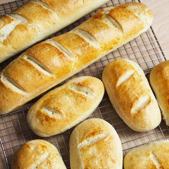 Simple five ingredient French bread is perfect for dipping in soups, as a sandwich, or with a little pat of butter.