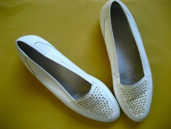 white leather flats for everyday, $15.