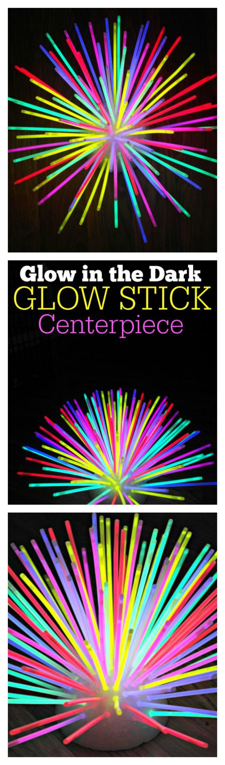 Glow In The Dark Glow Stick Centerpiece Stick Centerpieces Glow Sticks Halloween Party Decor