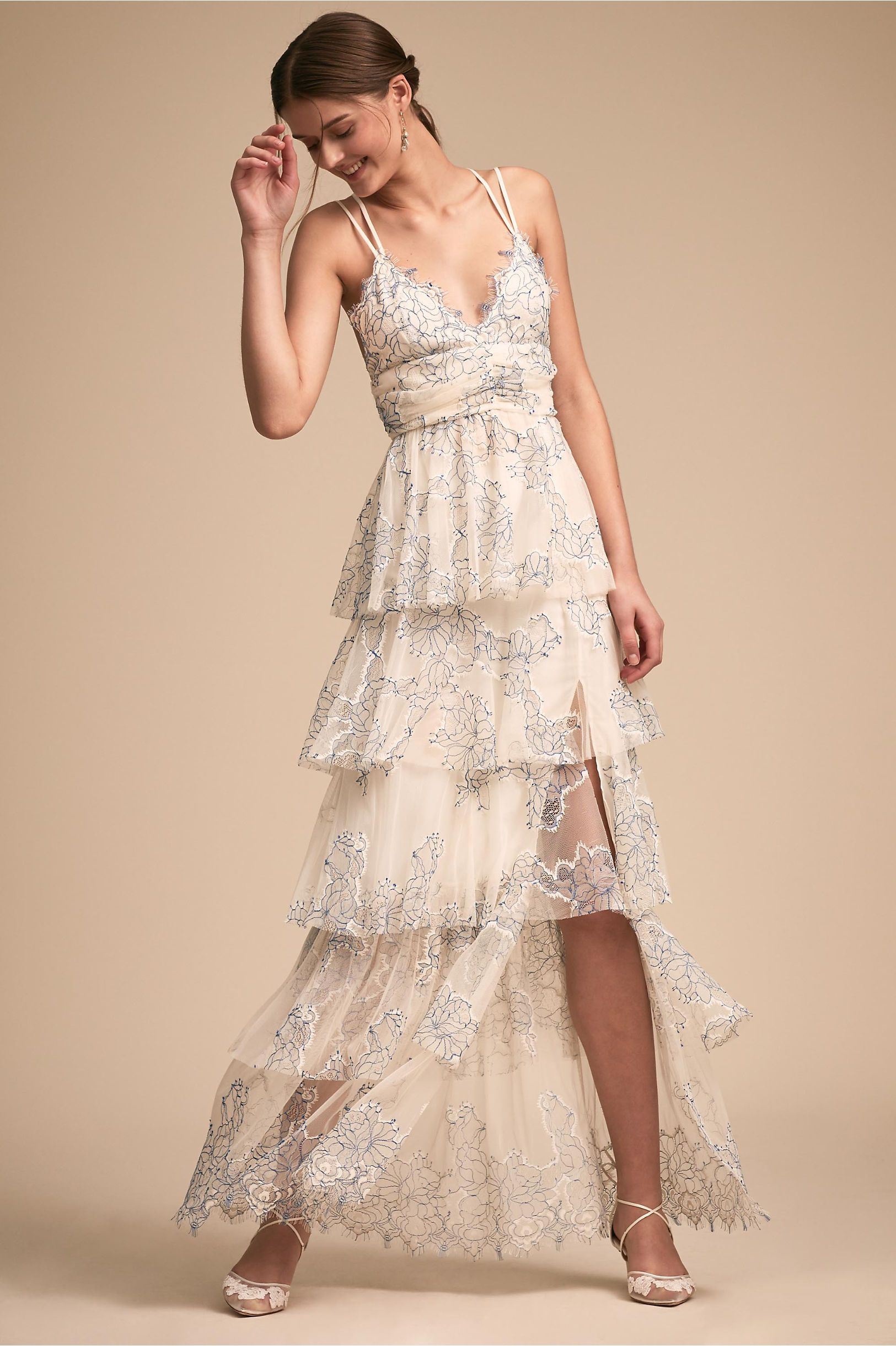 Casual wedding dresses with color  BHLDN Love Is Love Dress Blue Motif in New u Noteworthy  BHLDN
