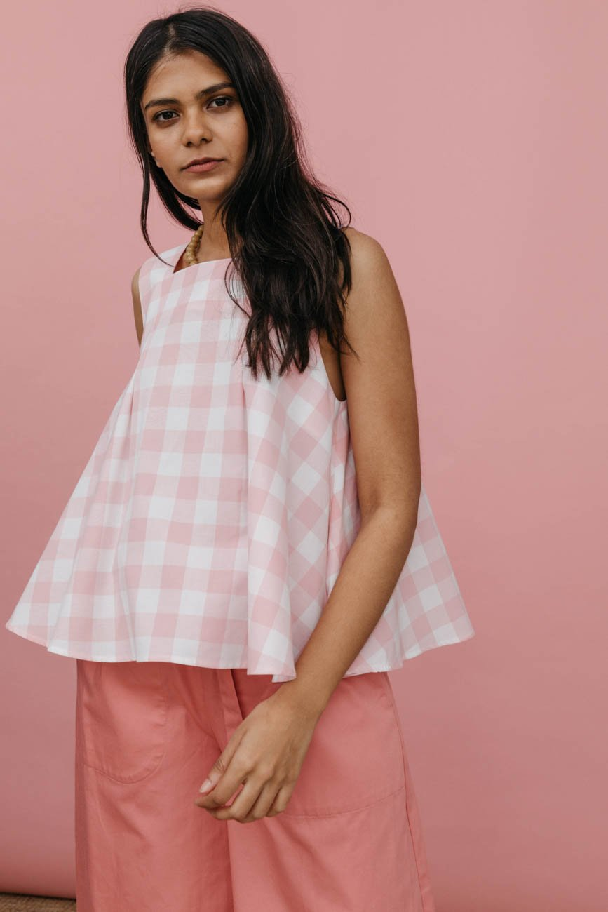 842cefbbb6bc84 Ella Top in Pink Cotton Gingham