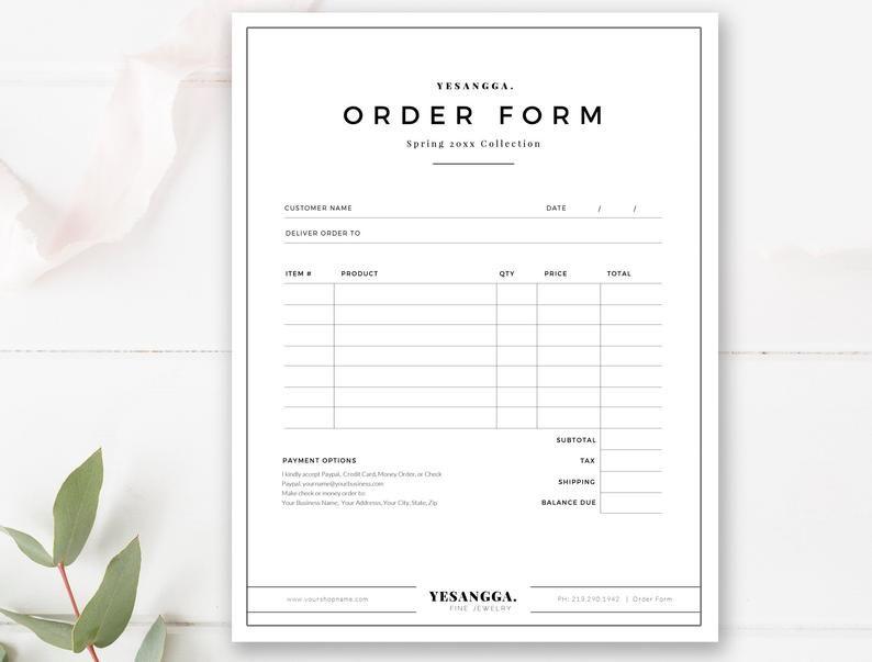 Minimalist Order Form Template Terms Sheet Wholesale Order Form Template Sell Form Photoshop Template Instant Download Order Form Template Term Sheet Templates