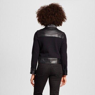Women's Textured Moto - Who What Wear Black L