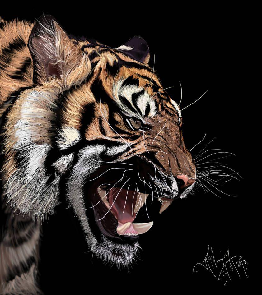 Tiger Digital Painting By Xavio Design Dibujo De Animales Tatuaje De Tigre Arte Super Heroe