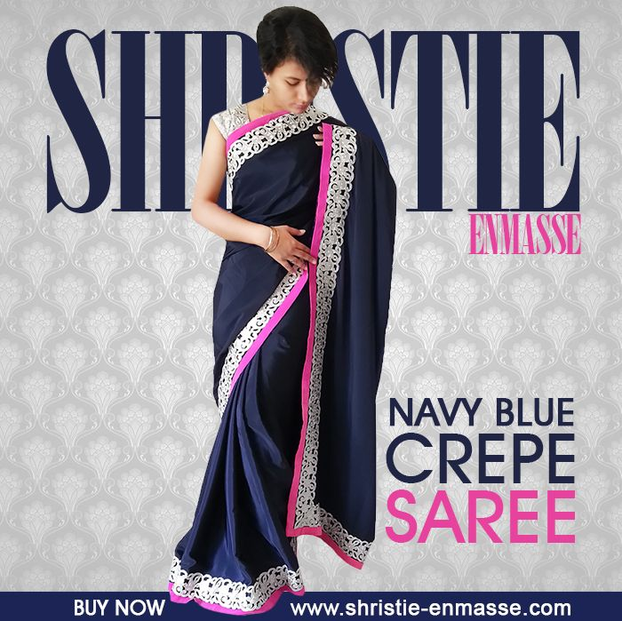 Navy Blue Crepe Saree with Silver Cut Work and Neon Pink Velvet Border. Look elegant and beautiful in this completely different yet stylish Navy Blue Crepe saree. Made from Crepe, this saree has beautiful silver cut work of border all over and Neon Pink Velvet Border Detailing. http://www.shristie-enmasse.com/product/navy-blue-crepe-saree-with-silver-cut-work-and-neon-pink-velvet-border/