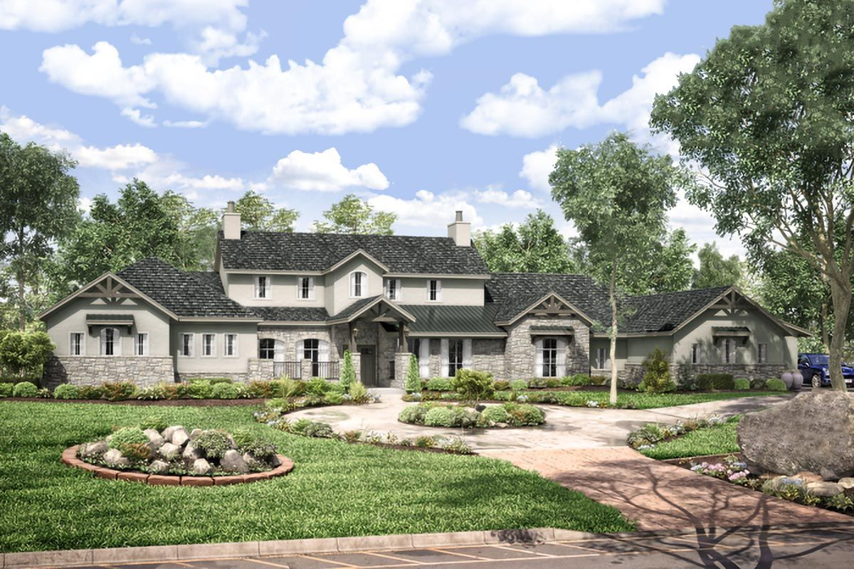 Plan 440010pwl Exclusive Hill Country Home Plan With Media And Game Rooms In 2020 Hill Country Homes Country House Plans House Plans
