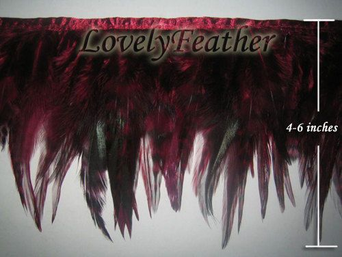 Saddle hackle feather fringe dark red color 2 yards trim for Crafts/Costume