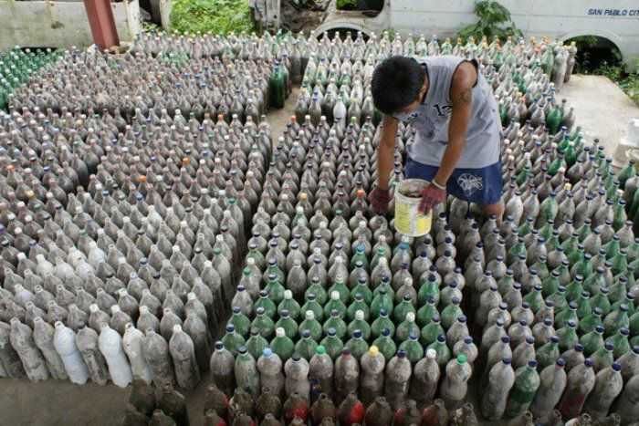 The filled bottles set out to dry...