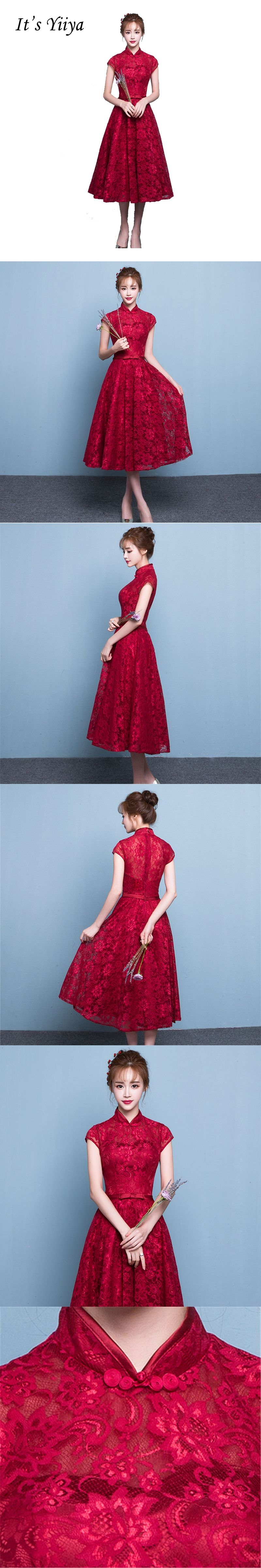 It\'s Yiiya Wine Red High-Neck Bow Short Sleeves Party Gown Prom ...