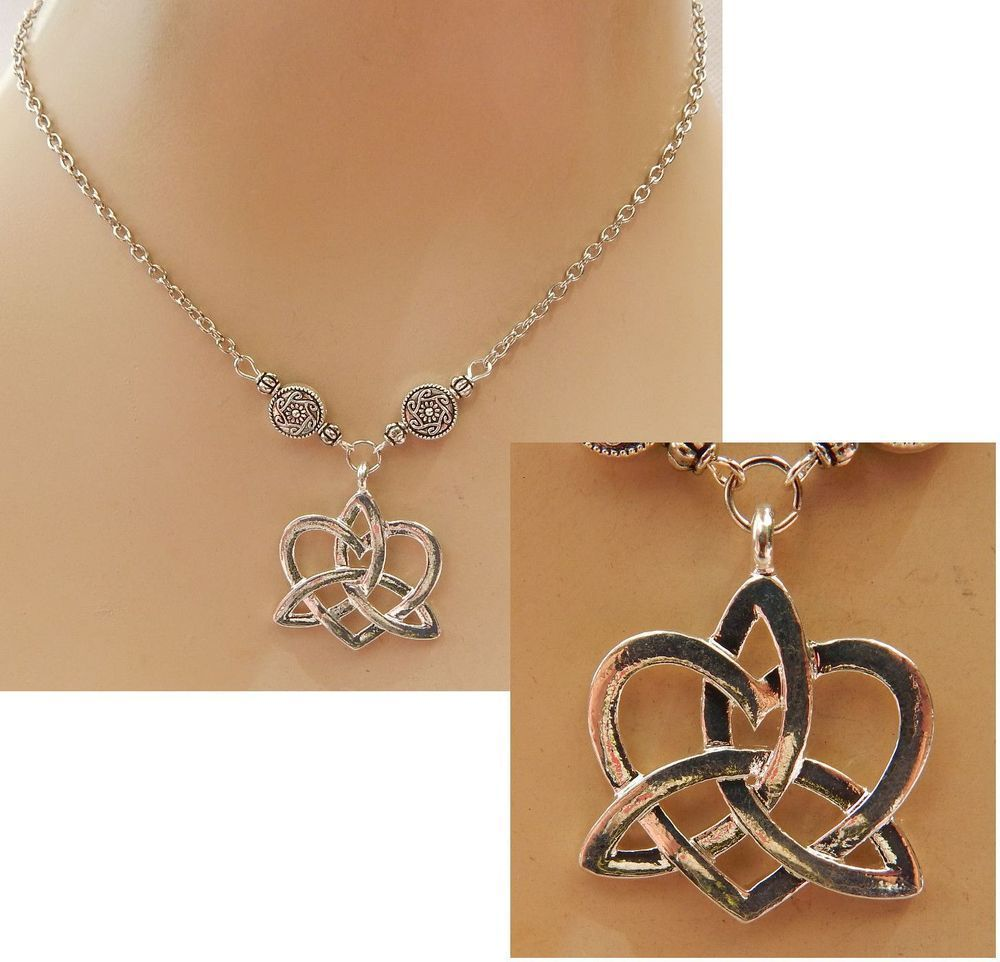 Silver celtic knot heart necklace jewelry handmade new accessories silver celtic knot heart necklace jewelry handmade new accessories fashion handmade pendant mozeypictures Gallery