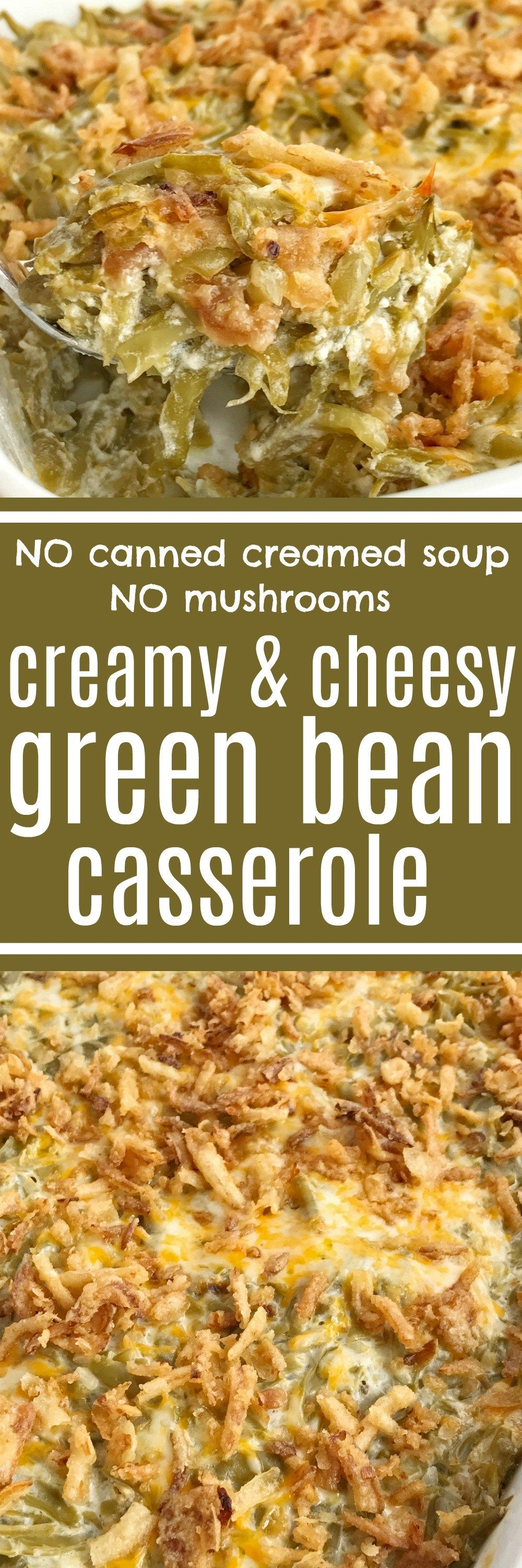 Look no further for the best creamy cheesy green bean casserole! Only a few simple ingredients, canned green beans, and a few minutes prep is all you need for the best green bean casserole. No creamed soup and no mushrooms. This recipe is a must have side dish for Thanksgiving dinner   www.togetherasfamily.com #greenbeancasserole #sidedish #thanksgivingdinner #thanksgiving #casserole #greenbeans #greenbeancasserole