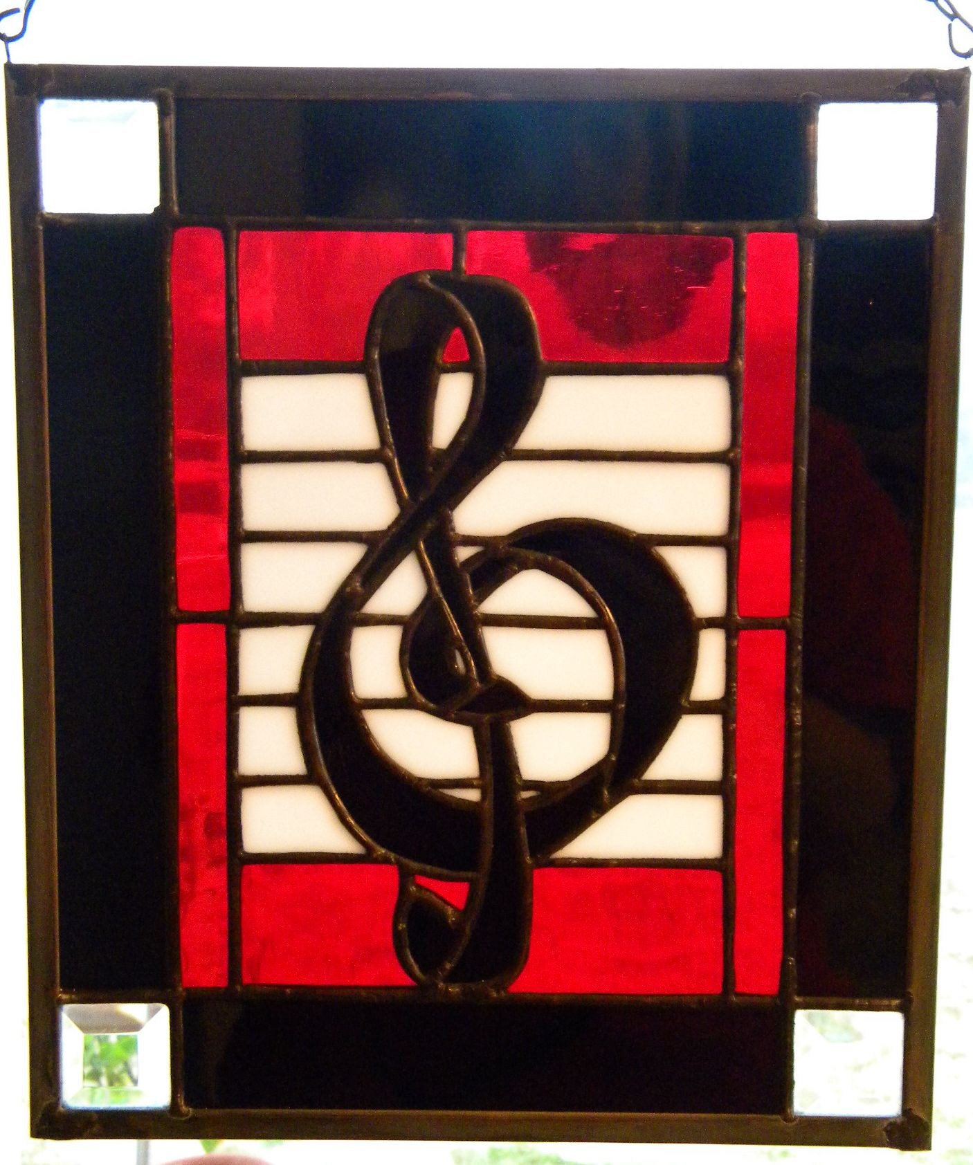 Treble clef stained glass panel!
