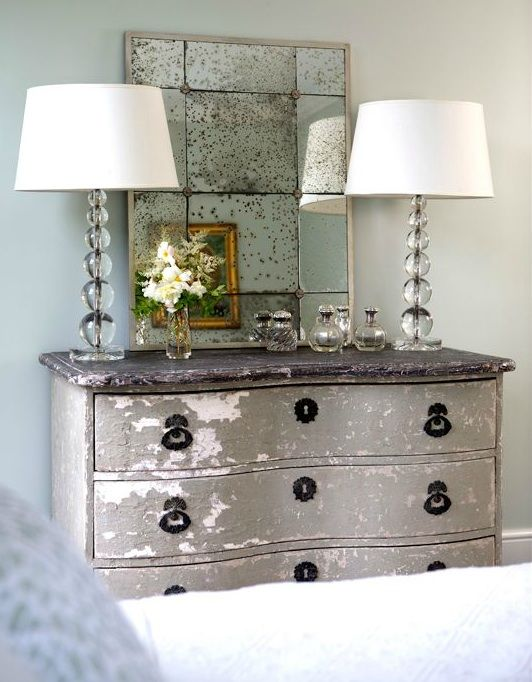 Sage Design Girl 39 S Rooms Green Walls Vintage Dresser Stacked Glass Lamps Antique