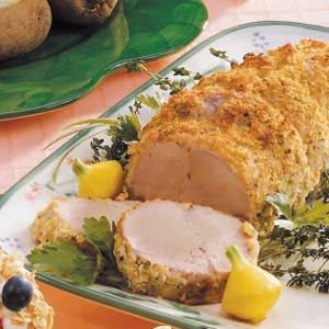 Pepper-Crusted Pork Tenderloin   This was delicious.  I thought the crumb mix was a little dry and clumpy...I used fine bread crumbs and should have added a bit more liquid. SALLEN