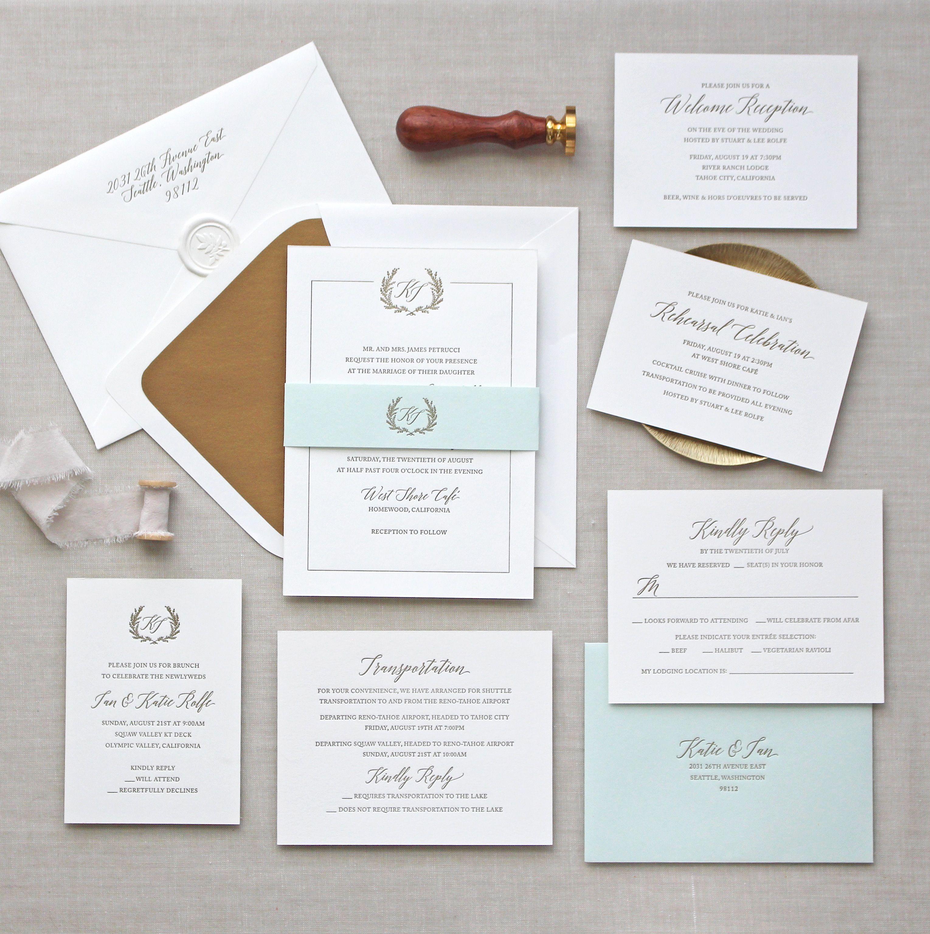 Letterpress wedding invitations // Jardin design // CHATHAM & CARON ...