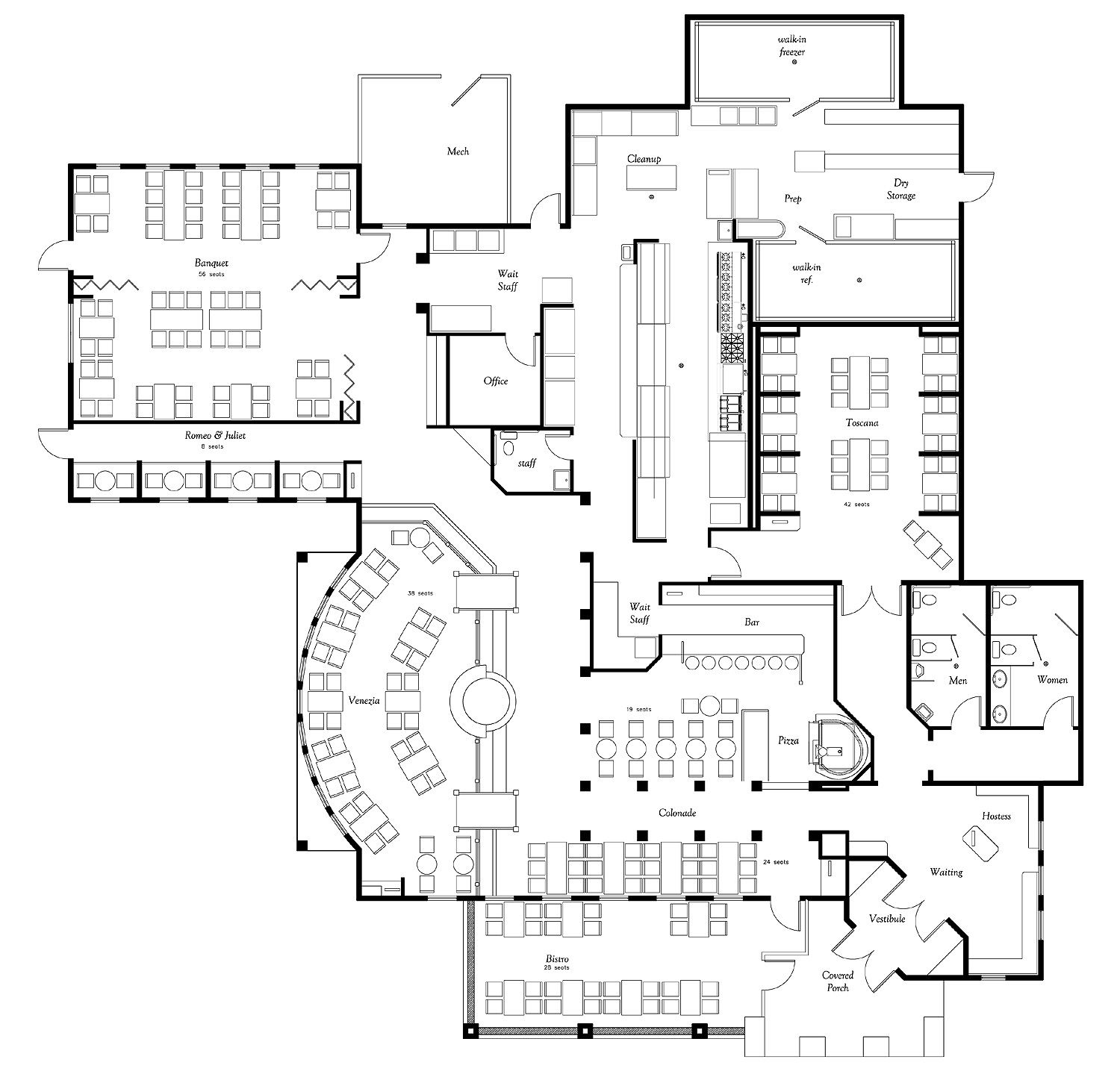Giovanni italian restaurant floor plan case study for Restaurant planning software